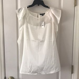 NWT Express Ivory Satin Top with Sheer Neckline